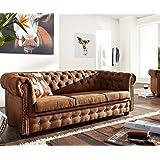 3-Sitzer Chesterfield Braun 200x95 cm Antik Optik Sofa