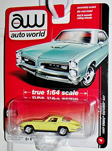Auto World 1967 Chevy Corvette 427 Yellow #4 Accurate 1:64 Scale Highest Quality Collectible ...