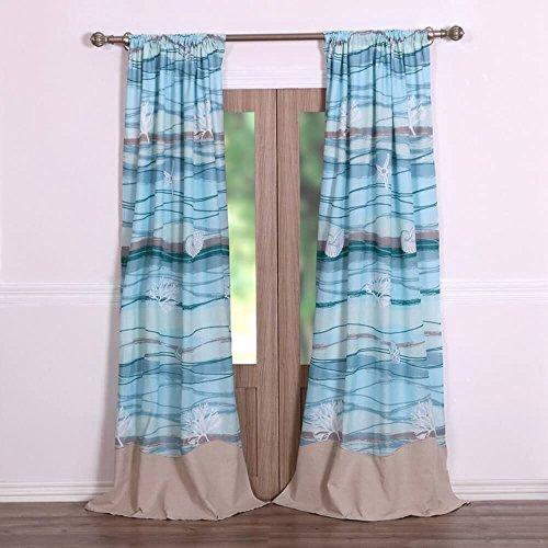 Cloud Window Curtains 3d Printing Nautical Home Decor: Coastal Seaside Beach Blue 100-percent Cotton Bedding