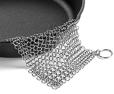 LauKingdom Cast Iron Chainmail Scrubber- 8x8 Stainless Steel Cleaner Prevents Corrosion with Corner Ring