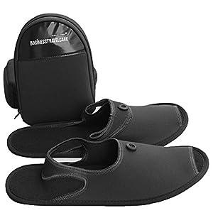 Mudder chaussons homme/femme pantoufles avec sacoche de rangement de chaussure pantoufle pliant idéal pour voyage et business trip taille EU 42, Noir