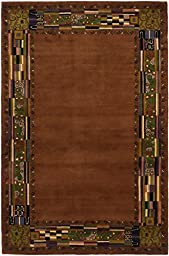 eCarpetGallery Handmade Elegance 5-Feet 3-Inch by 8-Feet 0-Inch Wool Rug, Brown