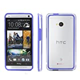 GMYLE (TM) Blue Rubberized Plastic Flexible Protective Bumper Case for HTC One M7