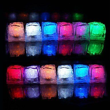 Zcl 12Pcs Color Changing Ice Cubes Led Light Party Wedding Christmas Bar Restaurant