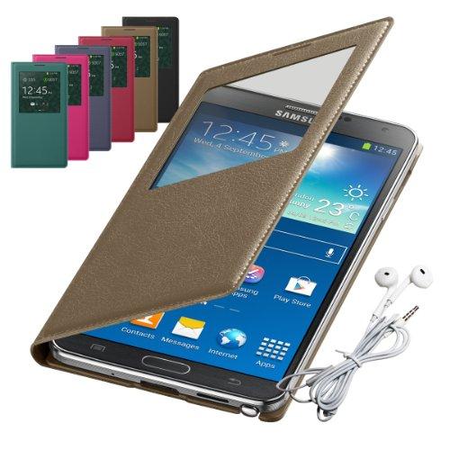 Rasfox® Luxury Leather Smart S View Flip Cover Folio Case & Geometry Earphone With Mic For Samsung Galaxy Note 3 Iii N9000 N9005 N9006 (Marshlands)