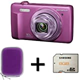 Olympus VR-340 Purple + Case and 8GB Memory Card (16MP, 10x Super Wide Optical Zoom) 3 inch LCD