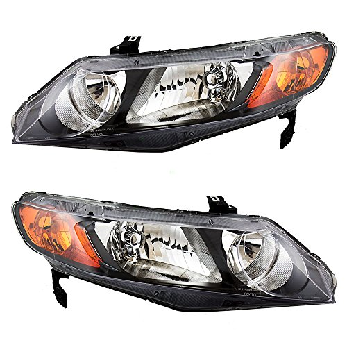 Driver and Passenger Headlights with Amber Park Lens Replacement for Honda 33151SNAA02 33101SNAA02 (2006 Civic Headlights compare prices)