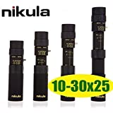 Sawan Shop New Nikula Mini 10-30x25 High Power Zoom Optical Monocular Telescopes Outdoor (Color: Black)