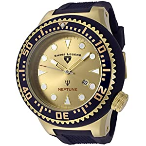 Mens 21818D-YG-07-BL Neptune Collection Yellow Gold Ion-Plated Blue Rubber Watch