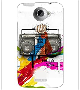 PrintDhaba Radio D-3449 Back Case Cover for HTC ONE X (Multi-Coloured)
