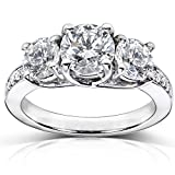 Diamond Three-Stone Engagement Ring 1 1/2 Carats (ctw) in Platinum (Certified)