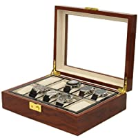 Watch Box Storage 10 Watches Large Compartments Extra Clearance Removable Tray Cherry Finish Display Window from Tech Swiss