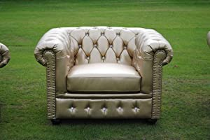 Gold Bycast Leather Chesterfield Diamante 1 Seater Club Chair by Chesterfield