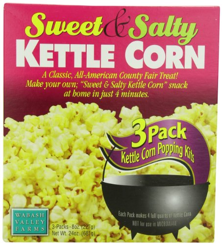 Wabash Valley Farms Popcorn Sweet and Salty Kettle Corn, 8 Ounce (Pack of 3) (Wabash Valley Farms Popcorn Kits compare prices)