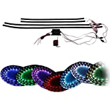 "ZHOL® 7 Color LED Under Car Glow Underbody System Neon Lights Kit 48"" x 2 & 36"" x 2 w/Sound Active Function and Wireless Remote Control"