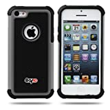 Bayke Brand for iPhone 5C (not Fit iPhone 5 and 5S) High Impact Dual Layer 2in1 Hybrid Armor Bumper PC and Soft Silicone Rubber Gel Skin Case (Grey)