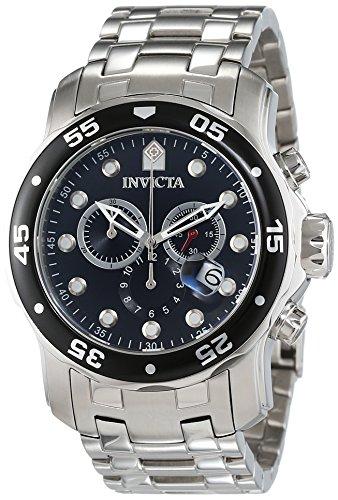 Invicta - 0069 - Pro Diver - Montre Homme - Quartz Chronographe - Cadran Noir - Bracelet Acier Argent