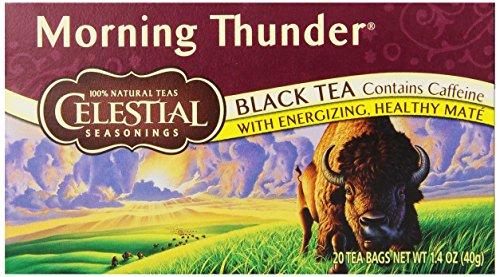 Celestial Seasonings Black Tea, Morning Thunder, 20-Count Tea Bags (Pack Of 6)
