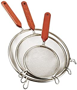 Cook Pro Stainless Steel Mesh Strainers with Wood Handles, Set of 3 by Cook Pro