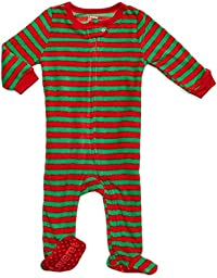 Footed Fleece Sleeper Red & Green stripes 6-12 M