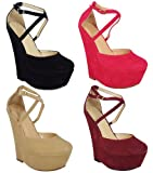 LoudLook New Womens Ladies Strappy Faux Suede Platform High Wedge Shoes Sizes 3-8 UK 4 Colours