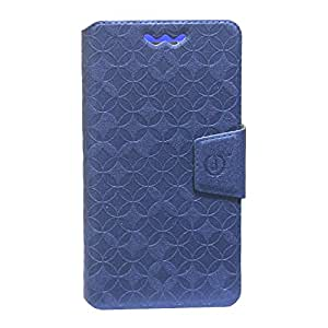 Jo Jo Cover Aarav Series Leather Pouch Flip Case With Silicon Holder For Micromax Canvas Lite Dark Blue