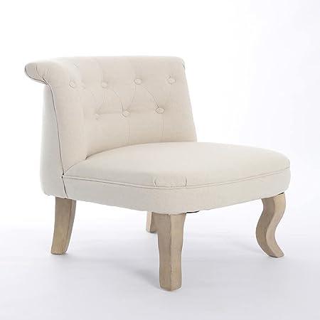 Sedia crema naturale legno/poliestere provenzali 85x 57x 86–kulunka Deco