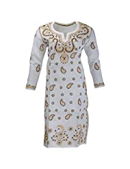 Lucknow Chikan Industry Women's Cotton Straight Kurti (White , 38 Inches) - B00XHKJCBS
