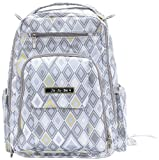 Ju-Ju-Be Be Right Back Backpack Diaper Bag with Insulated Bottle and 5 Zippered Pockets, Silver Ice