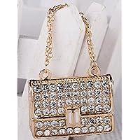 New White Rhinestone Buckle Bag Keychain Keychain Christmas Gift Bag Diamond Pendant Keychain