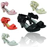 NEW GIRLS KIDS SATIN SANDALS LOW KITTEN HEEL PARTY BRIDESMAID WEDDING DIAMANTE BOW SHOES SIZE 10 - 4