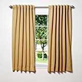 "Best Home Fashion Thermal Insulated Blackout Curtains - Back Tab/ Rod Pocket - Wheat - 52""W x 63""L - (Set of 2 Panels)"