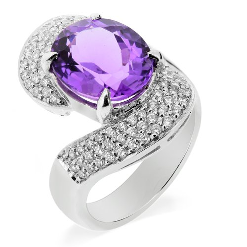 LenYa Special - Dazzle and shine Birthday Rhodium Plated Silver Ring with Oval Amethyst (Main Stone), Round Cubic Zirconia, (Ring Size 7)