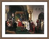 WallsnArt, Figurative Modern Framed Art Work Painting With Glass,Filippo Maria Visconti, Duke Of Milan Returns Crown To Kings Of Aragona And Of Navarra, Taken Prisoner By Genoese, By Francesco Hayez (1791-1882)