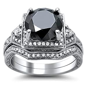 3.05ct Round Black Diamond Engagement Ring Bridal Set 14k White Gold