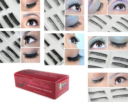 Bundle Monster 70 Pairs Fake / False Eyelashes – 7 Different Styles – 10 Pairs Each Variety Pack Set