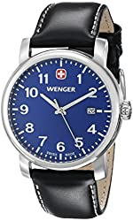 Wenger Men's 71003 Amazon-Exclusive Stainless Steel Watch with Black Leather Band