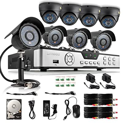 Zmodo 8CH HDMI 960H DVR 600TVL Day Night IR CCTV Surveillance Home Video Security Camera System 1TB Hard Drive Scan QR Code Easy Remote Access in Seconds
