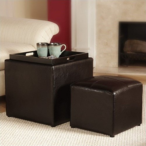 Convenience Concepts Designs4Comfort Park Avenue Single Ottoman with Stool, Dark Espresso (Dark Espresso Ottoman compare prices)