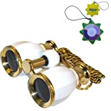 HQRP 4 x 30 Opera Glass Binocular Antique Style White pearl with Gold Trim w/ Necklace Chain 4x Extra High Magnification plus UV Meter