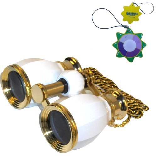 Hqrp Theater Glasses Binoculars Antique Style White Pearl With Gold Trim W/ Necklace Chain Plus Coaster