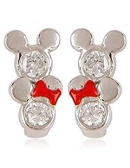 Disney Silver Plated Drop Earrings For Women (Silver) (SB110162E/1)