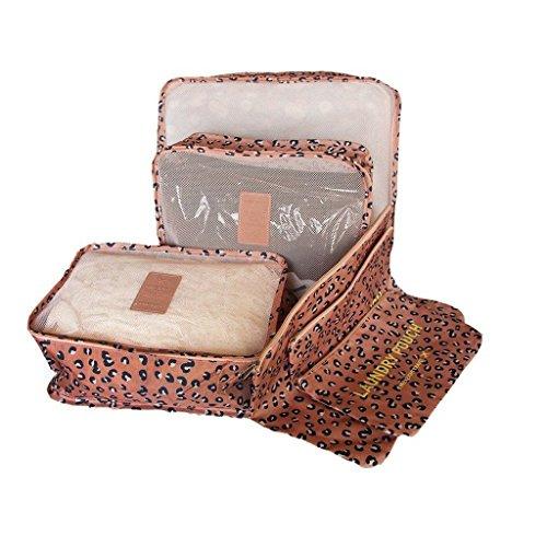 Borsa Organizzatore da Toeletta Doccia Borsetta da Viaggio Portatrucchi Beauty Case per Cosmetico Set 6-Leopardo