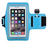 iXCC Racer Series Dual Arm-Size Slots Sporty Gym Armband for iPhone 6splus, 6plus,6s,6,5s, 5,5c and iPod, MP3 Player - Blue