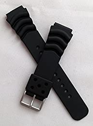 22 mm wide BLACK PU watch strap to fit Seiko/Citizen/Orient/Casio etc divers watches