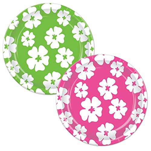 Beistle Hibiscus Plates, 7-Inch, Cerise/Light Green/White - 1