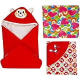 BRANDONN Hooded Blanket Cum Wrapping Sheet For Babies (Set Of 3, COMBO8)