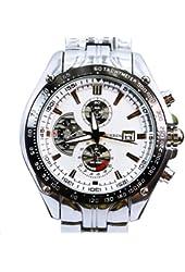 Readeel Silver White Quartz Movt Boys Mens Watch Stainless Steel Band Date Stylish Wrist Watch