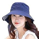 UVカット帽子 オシャレつば広ハット 紫外線防止&小顔効果 あご紐付きレディース日除け帽 (ネイビー)