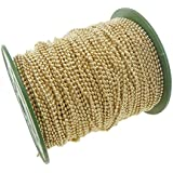 CleverDelights Ball Chain Roll - 330 Feet - Champagne Gold Color - 2.4mm Ball - #3 Size - 100M/100Yard - Bulk Chain Spool